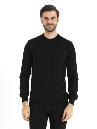 SAYKI Men's Crewneck Black Sweatshirt