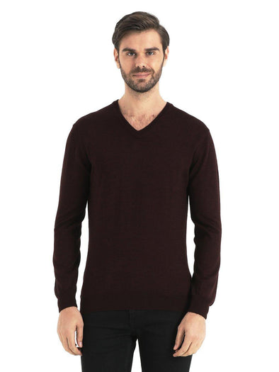 SAYKI Men's V-Neck Burgundy Sweatshirt-SAYKI MEN'S FASHION