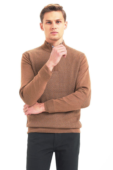 SAYKI Men's Camel Pullover Knitwear-SAYKI MEN'S FASHION