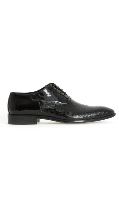 SAYKI Men's Classic Patent Leather Black Shoes-SAYKI MEN'S FASHION
