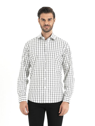 SAYKI Men's Slim Fit Checkered Cotton Shirt