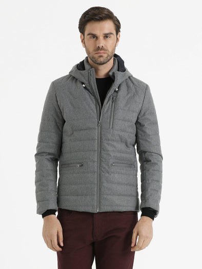 SAYKI Men's Grey Down Jacket-SAYKI MEN'S FASHION