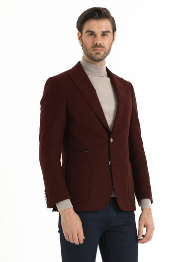 SAYKI Men's Burgundy Slim Fit Blazer
