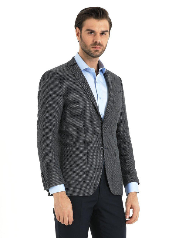 SAYKI Men's Light Grey Slim Fit Single Breasted Birdseye Blazer