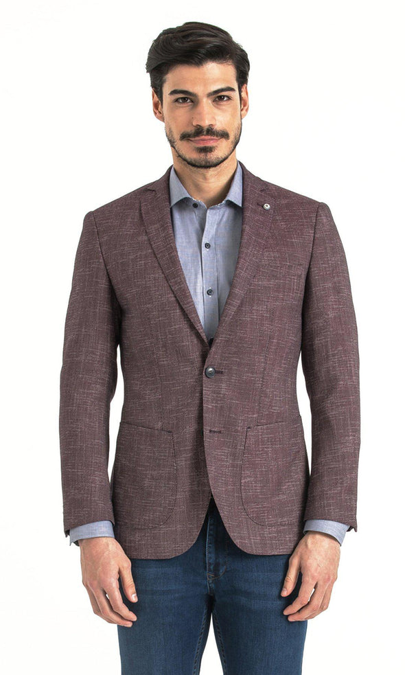 SAYKI Men's Slim Fit Light Navy Single Breasted Blazer-SAYKI MEN'S FASHION