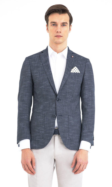 SAYKI Men's Slim Fit Double Breasted Blazer