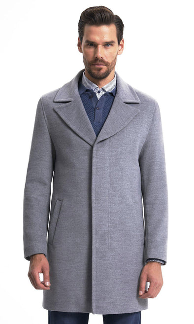 Sayki Mens Grey Overcoat Default