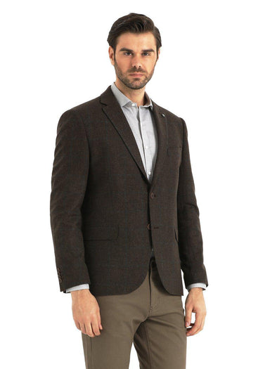 Sayki Mens Single Breasted Dynamic Fit Brown Blazer Default