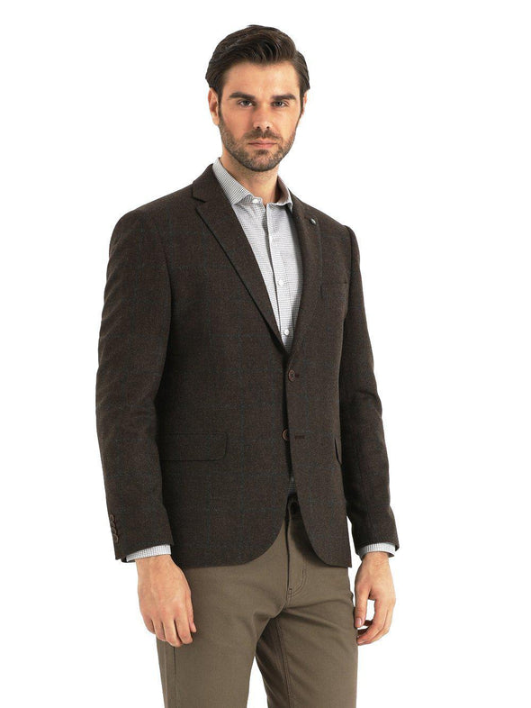 SAYKI Men's Single Breasted Dynamic Fit Brown Blazer-SAYKI MEN'S FASHION