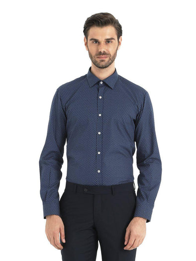 SAYKI Men's Navy Blue Cotton Shirt-SAYKI MEN'S FASHION