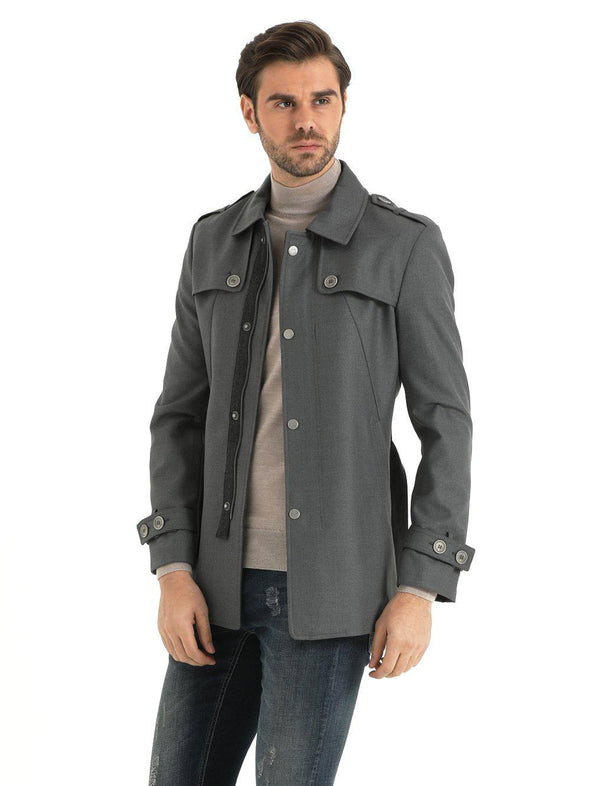 SAYKI Men's Grey Overcoat-SAYKI MEN'S FASHION