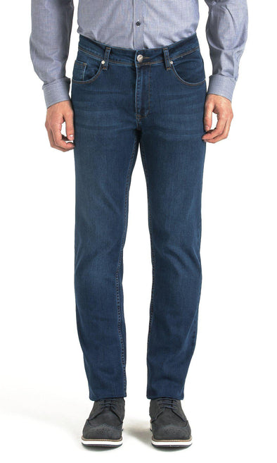 SAYKI Men's Regular Fit Navy Jeans