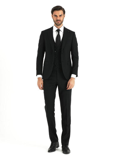 SAYKI Men's Black Slim Fit Suit With Vest