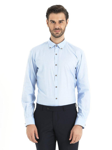 SAYKI Men's Light Blue Cotton Shirt
