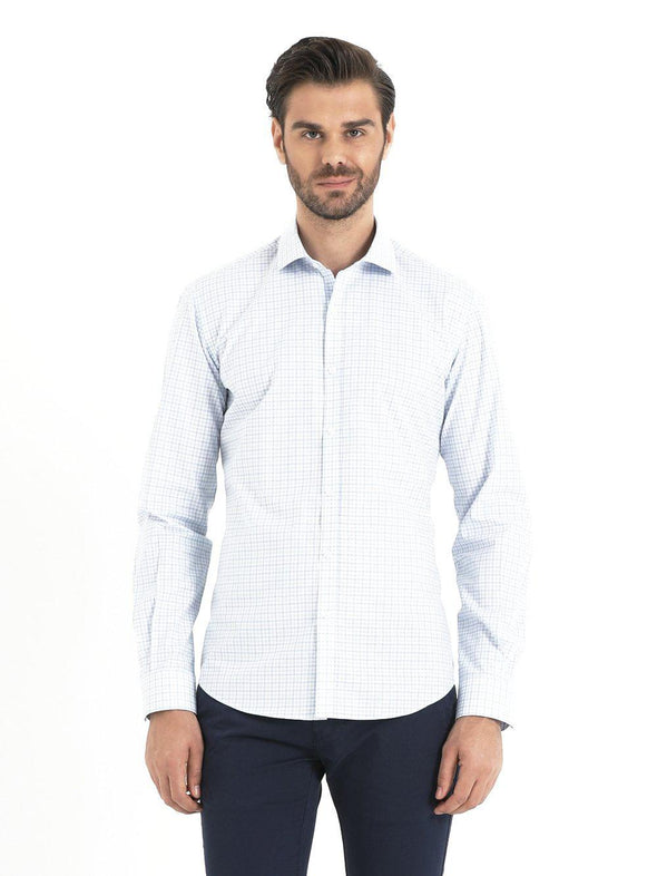 SAYKI Men's Slim Fit Plaid Blue Cotton Shirt-SAYKI MEN'S FASHION