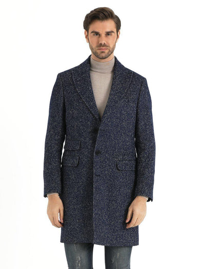 SAYKI Men's Galaxy Blue Overcoat