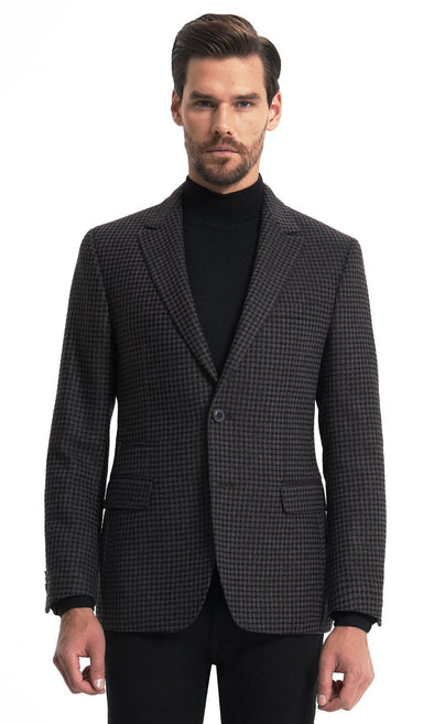 Sayki Mens Single Breasted Dynamic Fit Checkered Brown Blazer Default