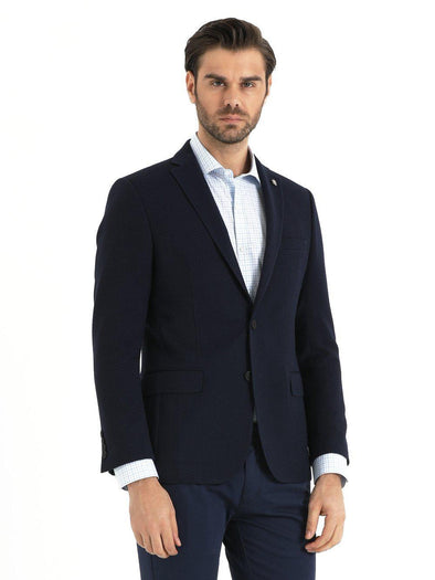 SAYKI Men's Navy Blue Slim Fit Single Breasted Blazer