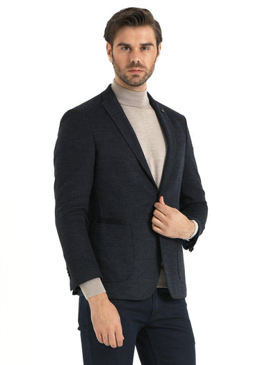 SAYKI Men's Grey Slim Fit Birdseye Single Breasted Blazer-SAYKI MEN'S FASHION