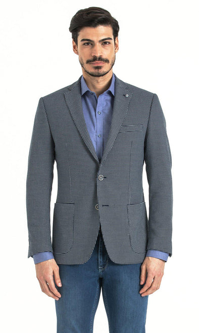 SAYKI Men's Slim Fit Checkered Navy Single BreastedBlazer