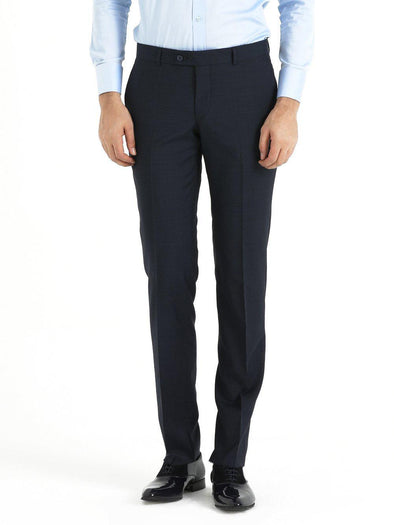 SAYKI Men's Slim Fit Wool Blue Pants-SAYKI MEN'S FASHION