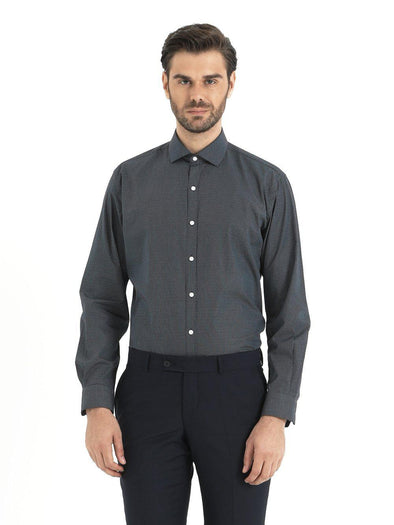SAYKI Men's Dark Grey Cotton Shirt