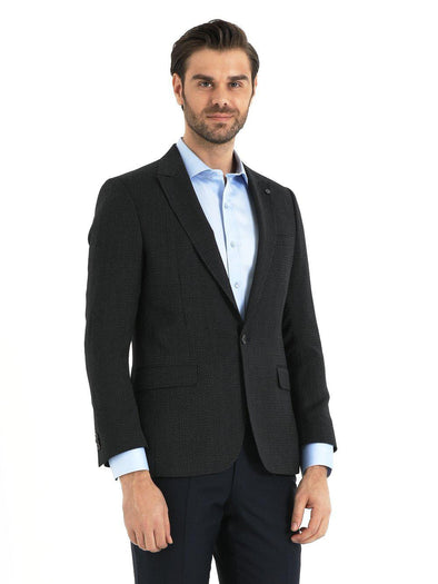 SAYKI Men's Black Slim Fit Single Breasted Blazer