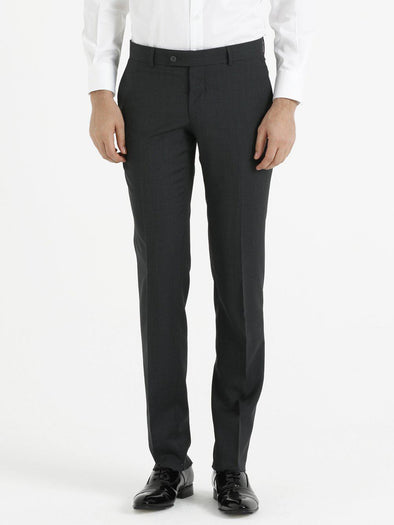 SAYKI Men's Slim Fit Wool Black Pants