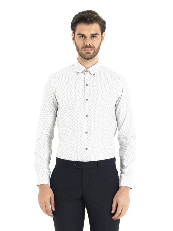 SAYKI Men's White Slim Fit Cotton Shirt