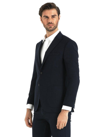 SAYKI Men's Slim Fit Navy Double Breasted Blazer