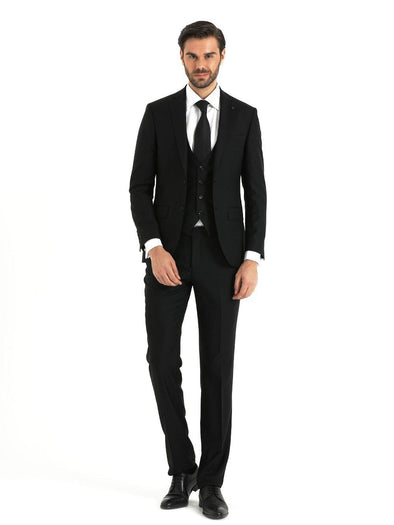 SAYKI Men's Slim Fit Black Double Breasted Suit with Vest