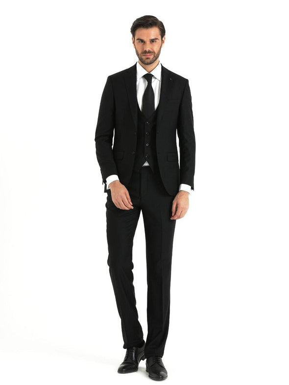 SAYKI Men's Slim Fit Black Double Breasted Suit with Vest-SAYKI MEN'S FASHION