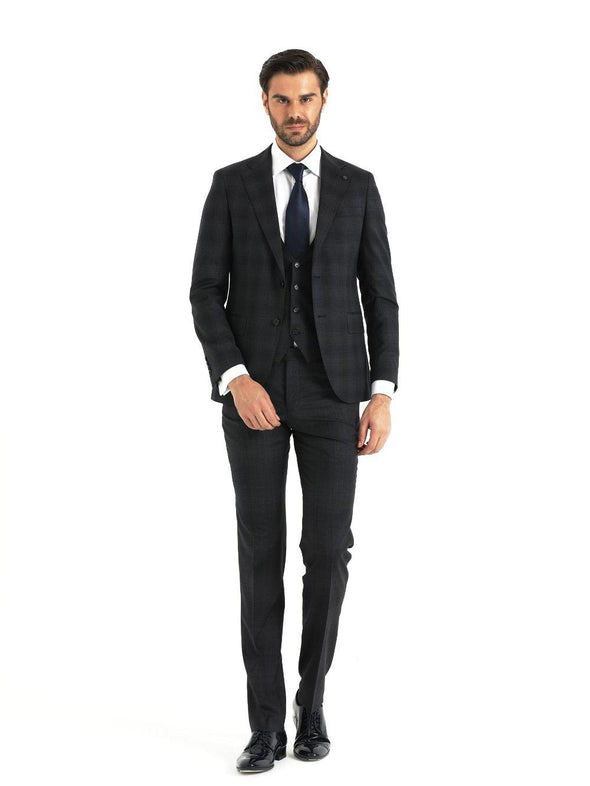 SAYKI Men's Slim Fit Navy Window Pane Double Breasted Suit with Vest