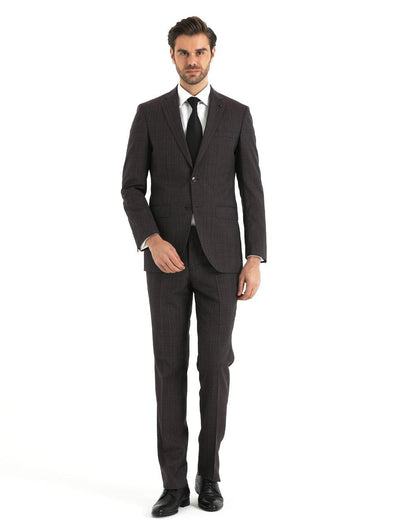 SAYKI Men's Slim Fit Long Double Breasted Wool Suit