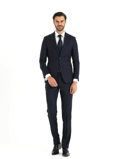 SAYKI Men's Slim Fit Double Breasted Navy Suit