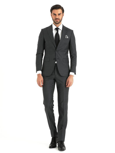 SAYKI Men's Slim Fit Grey Double Breasted Wool Suit-SAYKI MEN'S FASHION