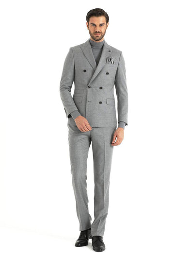 SAYKI Men's Slim Fit Double Breasted Grey Wool Suit-SAYKI MEN'S FASHION