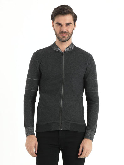 SAYKI Men's Zipper Dark Grey Cardigan