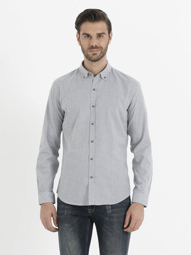 SAYKI Men's Grey Cotton Shirt