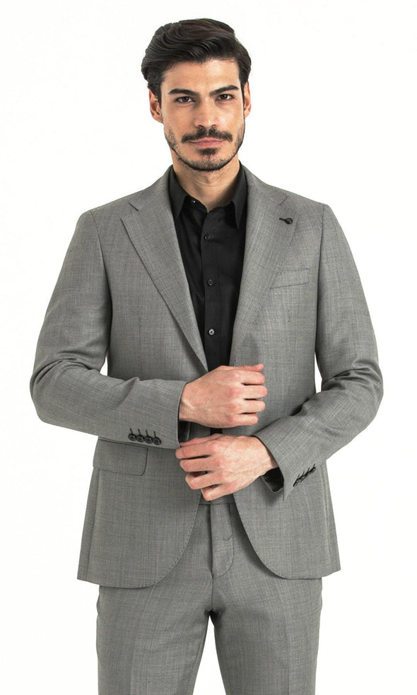 SAYKI Men's Slim Fit Grey Wool Suit