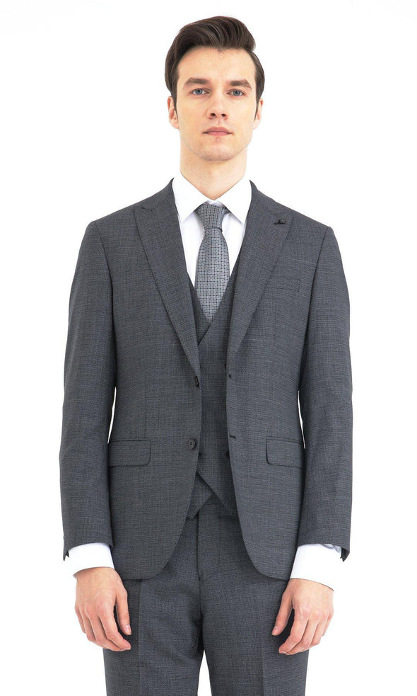 SAYKI Men's Slim Fit Wool Single Breasted Suit with Vest