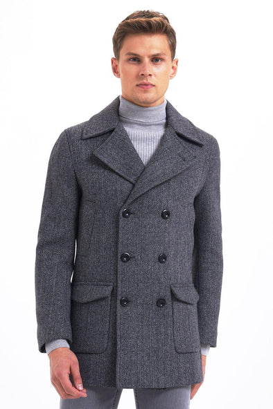 SAYKI Men's Lisbon Double Breasted Grey Coat-SAYKI MEN'S FASHION