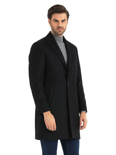 SAYKI Men's Fashion Navy Overcoat