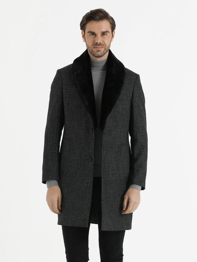SAYKI Men's Charcoal Shadow Plaid Overcoat