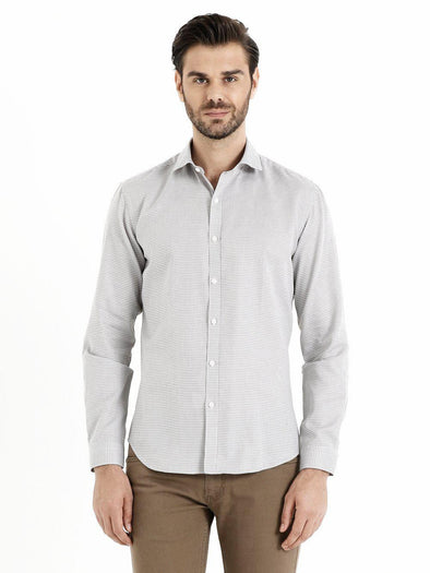 SAYKI Men's Beige Slim Fit Cotton Shirt
