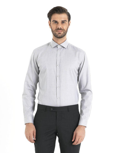 SAYKI Men's Slim Fit Light Grey Cotton Shirt