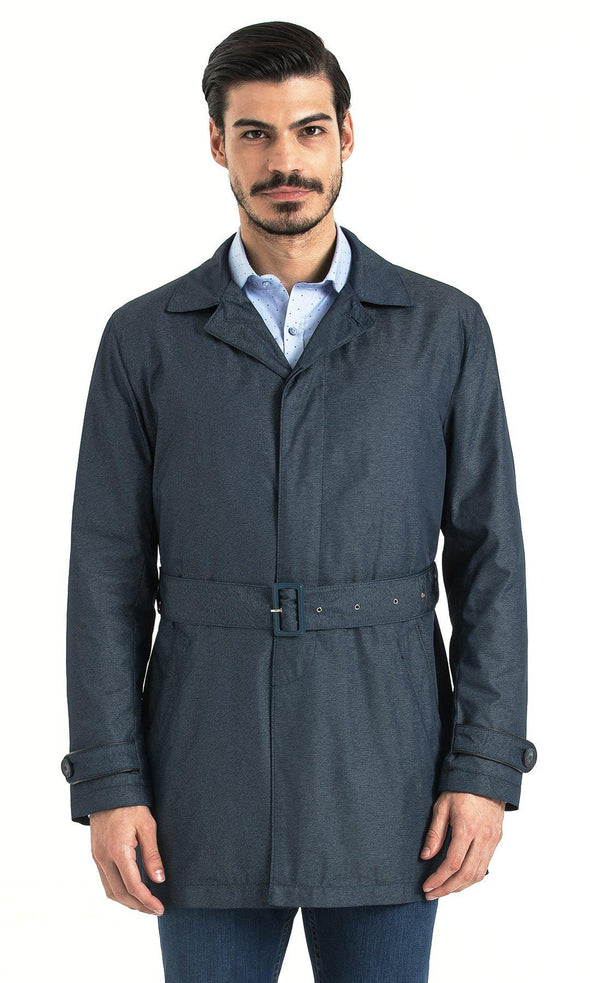 SAYKI Men's Round Collar Blue Jacket