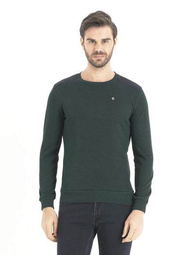 SAYKI Men's Green Crewneck Sweatshirt