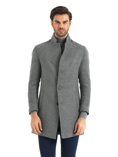SAYKI Men's Light Grey Winter Overcoat