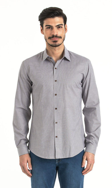 SAYKI Men's White Brown Melange Slim Fit Plaid Cotton Shirt